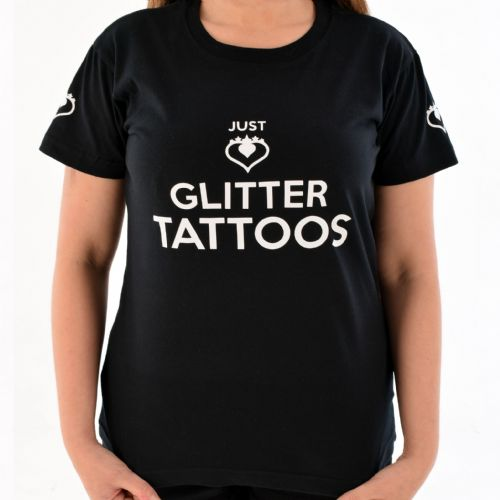 Female Crew Neck T-Shirt ~ Black Glitter Tattoos